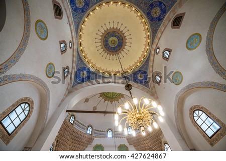 Sarajevo, Bosnia and Herzegovina - August 23, 2015: interior of Gazi Husrev-beg Mosque in Sarajevo - stock photo