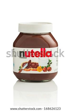 SARAJEVO, BOSNIA AND HERZEGOVINA - DEC 23, 2013:  Jar of Nutella Hazelnut Spread.Nutella is the brand name of a hazelnut flavoured sweet spread by the Italian company Ferrero. - stock photo