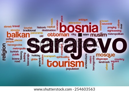 Sarajevo word cloud concept with abstract background - stock photo