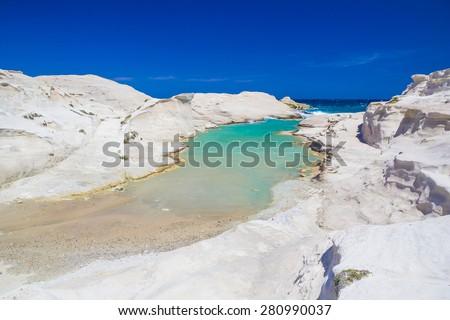 Sarakiniko beach, Milos island, greek Cyclades, Aegean, Greece, Europe - stock photo
