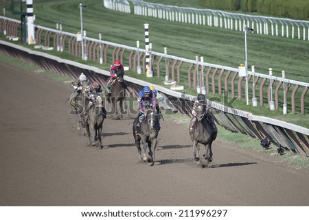 "SARATOGA SPRINGS, NY - August 18, 2014: ""Endless Chatter"" on the rail wins the Summer Colony Stakes at Historic Saratoga Race Course on August 18, 2014 Saratoga Springs, New York - stock photo"