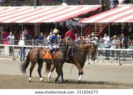 SARATOGA SPRINGS, NY - August 29, 2015: #7 Grand Candy with R Santana, Jr. in  post parade for 4th race on Travers Day at Historic Saratoga Race Course on August 29, 2015 Saratoga Springs, New York - stock photo
