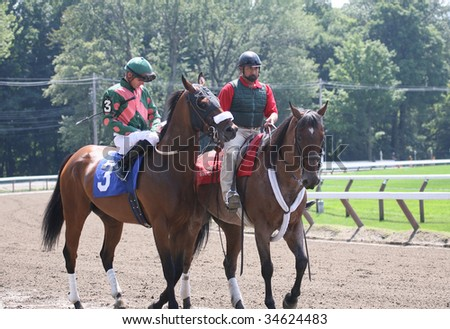 SARATOGA SPRINGS, NY- AUGUST 1: Jamie Theriot aboard Cat in the Sky in the post parade for the 2nd race at Saratoga Race Track - August 1, 2009 in Saratoga Springs, NY. - stock photo