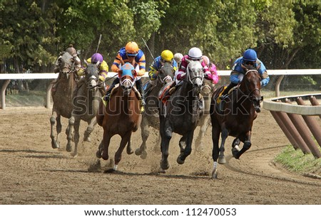 SARATOGA SPRINGS - SEPT 1: Jose Lezcano (blue) and Bellamy Brew lead the field en route to victory in the 1st race at Saratoga Race Course on September 2, 2012 in Saratoga Springs, NY. - stock photo
