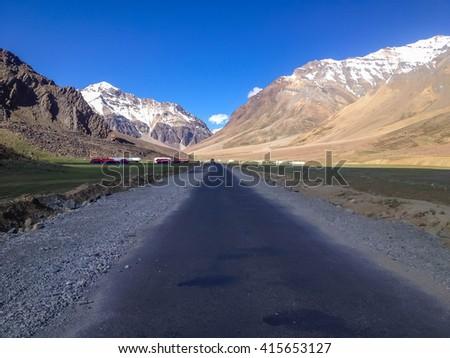 Sarchu camp landscape, Manali-Leh, Ladakh, India - stock photo