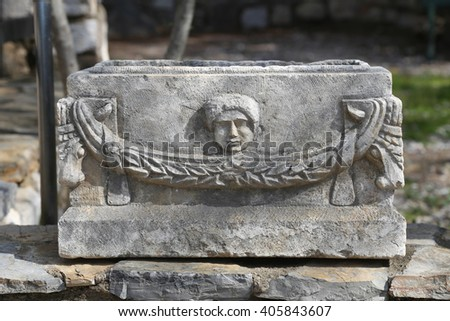 Sarcophagus in Bodrum Castle, Aegean Coast of Turkey - stock photo