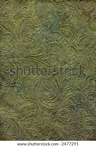 Sargasso Sea Patinaed and Embossed Parchment - stock photo