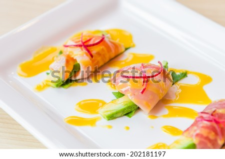 Sashimi avocado japanese food - stock photo
