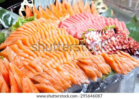 Sashimi buffet line, Japanese food - stock photo