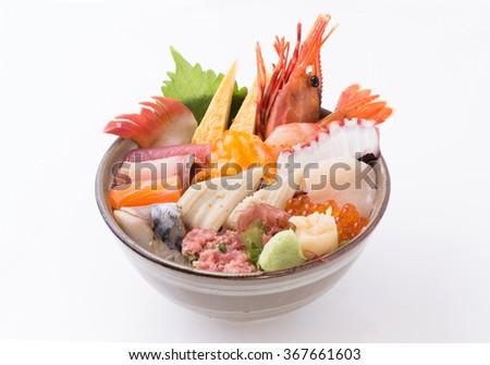 sashimi raw fish seafood rice bowl - sashimi on rice, donburi, japanese food - stock photo