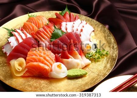 sashimi set, Japanese food - stock photo