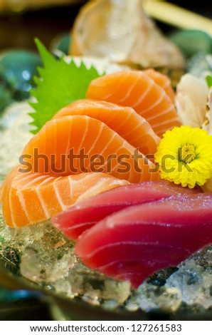 Sashimi set of salmon, tuna, Japanese style food - stock photo