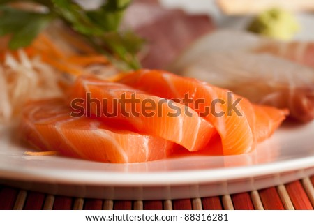 Sashimi set - Salmon - stock photo