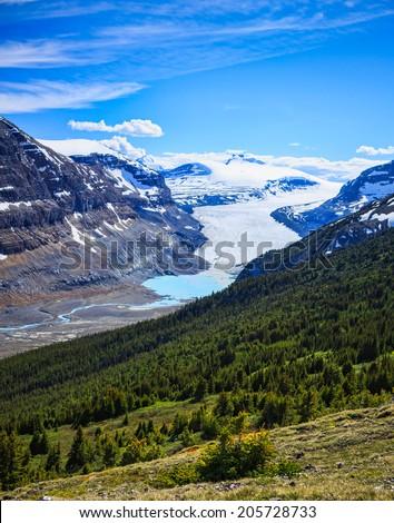 Saskatchewan Glacier in the Rocky Mountains in Banff, Alberta, Canada - stock photo