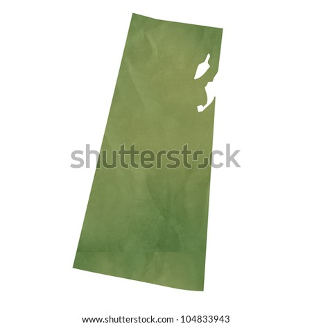 Saskatchewan province of Canada map in old green paper isolated on white background. - stock photo
