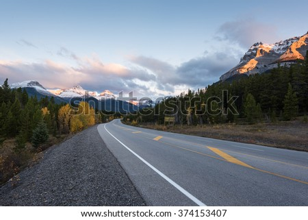 Saskatchewan River Crossing, Icefield Parkway, Alberta, Canada - stock photo