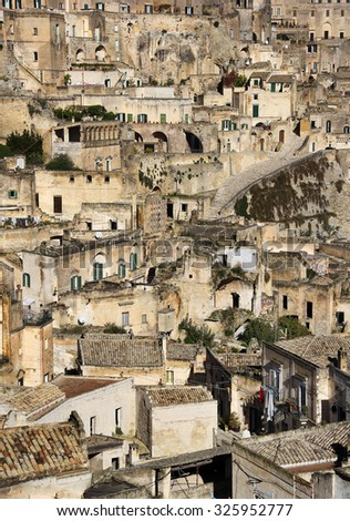 Sassi - the lost city in Matera, Pulgia, Italy - stock photo