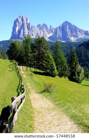 Sassolungo and Sassopiatto as seen from Ortisei in Val Gardena, Dolomites - stock photo