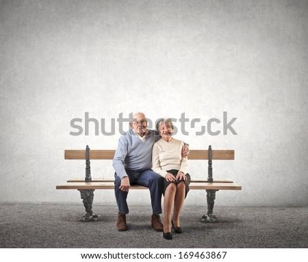 Sat Old Couple - stock photo