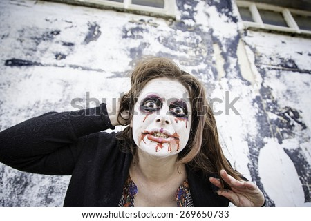 Satanic disturbed woman with mental problems - stock photo