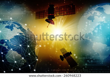 Satellite and spaceship - stock photo