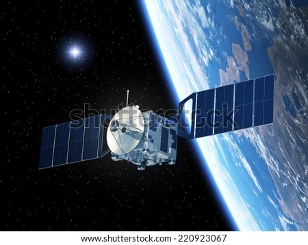 Satellite And Star. 3D Scene. Elements of this image furnished by NASA.  - stock photo