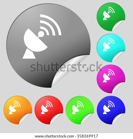 Satellite antenna icon sign. Set of eight multi colored round buttons, stickers. illustration - stock photo