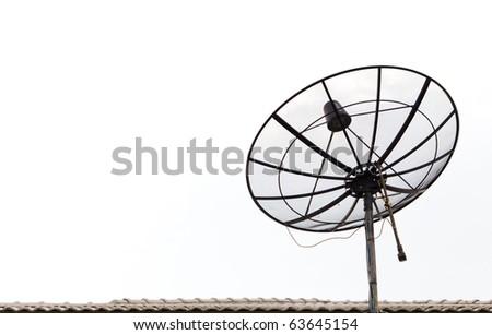 satellite antenna isolated - stock photo