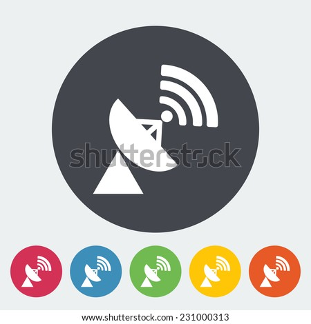 Satellite antenna. Single flat icon on the circle.  - stock photo