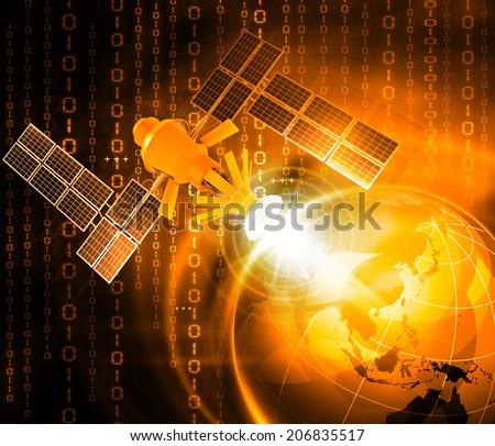 Satellite communications concept - stock photo