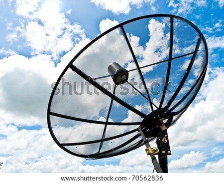 Satellite disc against blue sky - stock photo