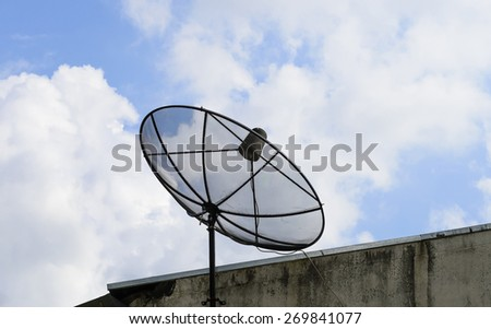 Satellite dish  also  used   in  every  where  for  communication   and    transportation   news  movie   entertainment  in  Thailand. - stock photo