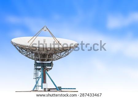 satellite dish antenna radar big size and blue sky background - stock photo