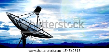 satellite dish antennas - stock photo