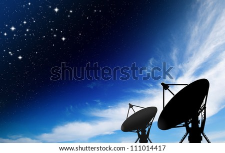 satellite dish antennas under star with galaxy Space - stock photo