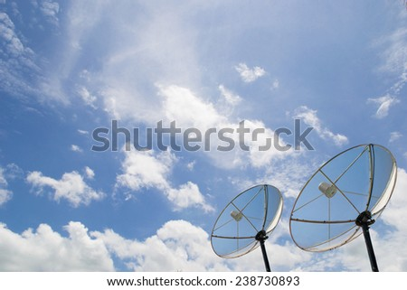 satellite dish blue sky - stock photo