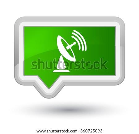 Satellite dish icon green banner button - stock photo