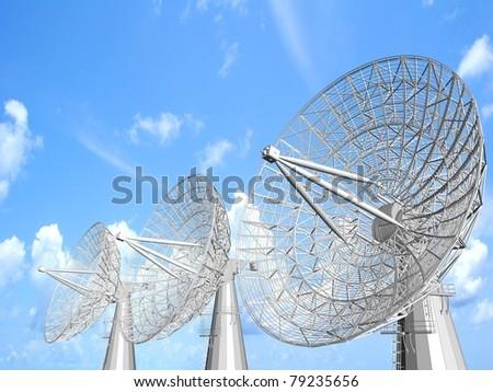 Satellite dish illustration with cloudscape. - stock photo