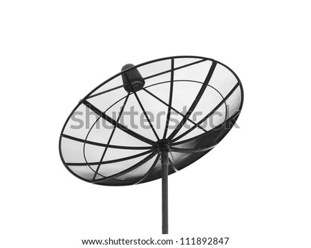 Satellite dish isolated on a white background - stock photo