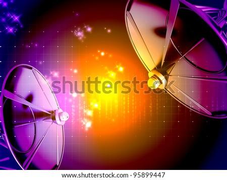 Satellite dish isolated on digital  background. - stock photo