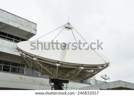 Satellite dish Isolated on white background - stock photo