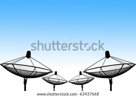 satellite dish silhouette with blue sky - stock photo