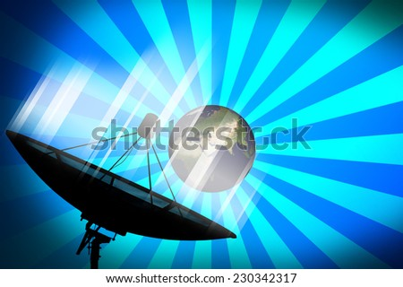 Satellite dish transmission data on blue background. Whole world land and oceans from NASA.  - stock photo
