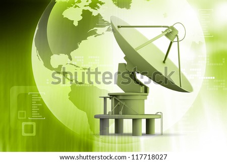 Satellite dishes antenna on abstract background - stock photo