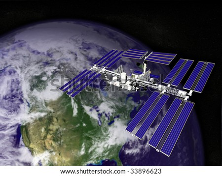 Satellite in Orbit - stock photo