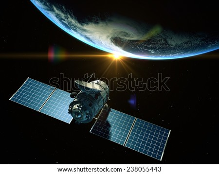 Satellite is orbiting around the Earth. Elements of this image furnished by NASA  - stock photo