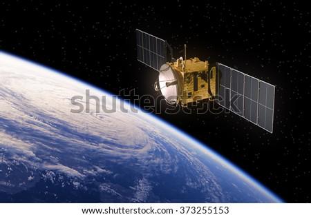 Satellite Orbiting Earth. 3D Scene. - stock photo