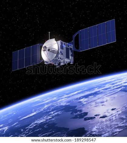 Satellite Orbiting Earth. 3D Scene. Elements of this image furnished by NASA.  - stock photo