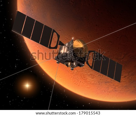 Satellite Orbiting Red Planet. 3D Scene. Elements of this image furnished by NASA.  - stock photo