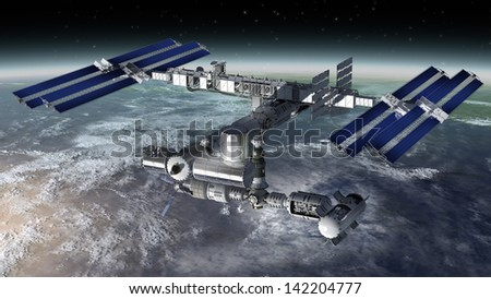 Satellite Space station flying over Earth with reflective solar panels and a modular interchangeable structure. - stock photo